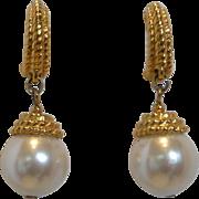 Vintage Napier Faux Pearl Drop Earrings Pierced Style