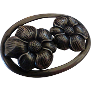 Vintage Sterling Silver Double Flower Brooch Pin