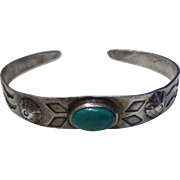 Old Pawn Child's Native American Indian Navajo Sterling Silver Turquoise Cuff Bracelet