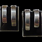 Mid-Century Modern Sterling Silver Black Glass Earrings