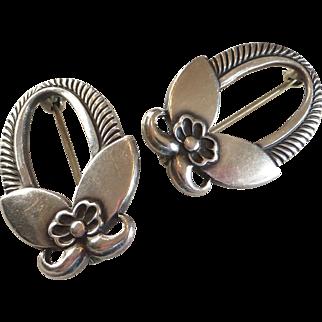 Vintage Georg Jensen Inc USA Sterling Silver Pin Brooch Pair 1940's