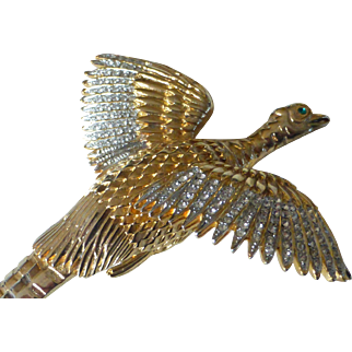 Vintage Huge Pheasant Brooch Gold Tone w/ Crystal Rhinestones MINT