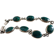 Vintage Malachite Sterling Silver Link Bracelet Mexico