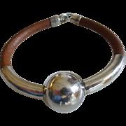 Modernist Pepe Cerroblanco Sterling Silver & Leather Bracelet