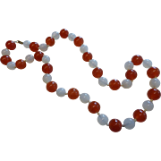 Vintage Red and White Natural Jade Bead Necklace