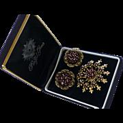 Vintage Pendant/Brooch and Earrings Red Crystal Rhinestones Japanned
