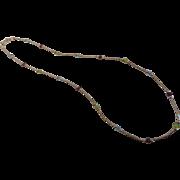 Semi-Precious Stone Sterling Silver Station Necklace