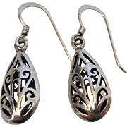 Vintage Sterling Silver Filigree Teardrop Earrings