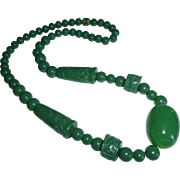 Vintage Carved Lucite Jade Green Bead Necklace