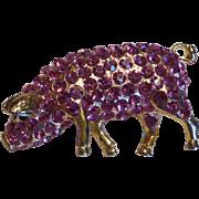 Vintage Pink Rhinestone Pig Pin Brooch