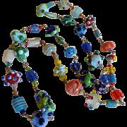 Vintage Art Glass Lamp Work Bead Necklace