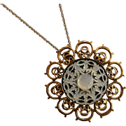 Carved MOP Pendant Necklace Brooch in Gold Filled Filigree Jerusalem