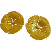 Vintage Poppy Flower Yellow Enameled Earrings