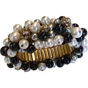 Fabulous Cha Cha Cluster Expansion Bracelet w Black Glass, Faux Pearls & Rhinestone Beads