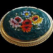 Vintage Micro Mosaic Floral Brooch ITALY
