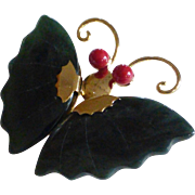Vintage Jade and Coral Butterfly Brooch Pendant