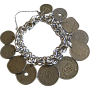 ELCO Sterling Silver Charm Bracelet Double Link Travel Coins