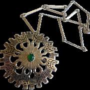 Vintage Large 900 Silver Chrysoprase Necklace Pendant Brooch Ecuador
