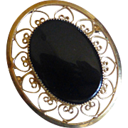12K Gold Filled Filigree Brooch Pin Black Onyx, Signed CATAMORE