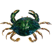 18k Yellow Gold and Enamel Crab Brooch Pendant Pin