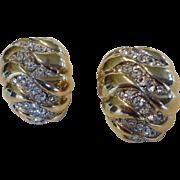 Kenneth Lane JKL Gold Tone Crystal Rhinestone Earrings