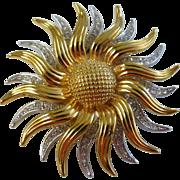 Kenneth Jay Lane KJL Pave' Crystal Sunburst Sunflower Brooch Pin Pendant