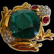 Vintage Swarovski Crystal Frog Pin / Brooch w Emerald Rhinestone Body Signed