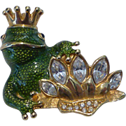 Vintage Swarovski Crystal Enamel Frog w Crown Pin / Brooch