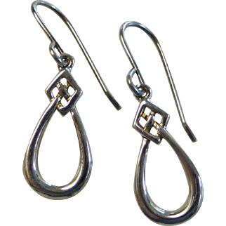 Sterling Silver Celtic Knot Drop Earrings by Kit Heath