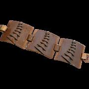 Mid-Century Wide Copper Linked Panel Bracelet Modernist Design
