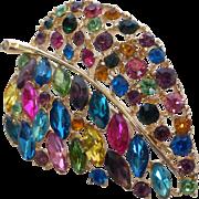 Big Multi-Color Rhinestone  Leaf Brooch