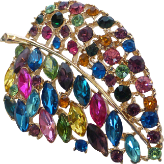 Big Multi-Color Rhinestone  Leaf Brooch