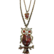 Vintage Double Owl Necklace on Double Chain