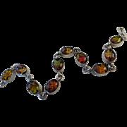 Vintage Sterling Silver Pressed Flower Oval Link Bracelet