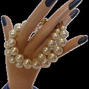 Vintage Richelieu Faux Pearl Double Strand Bracelet