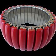 Red Lucite Panel Expansion Bracelet