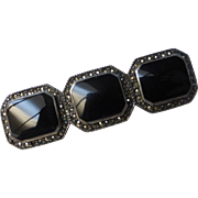 Vintage Judith Jack Sterling Silver, Onyx, Marcasite Brooch Pin