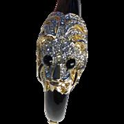 Vintage Lions Head Rhinestone Hinged Bracelet 1980's