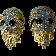 Vintage Lions Head Rhinestone Earrings 1980's