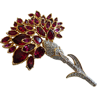 Huge Ruby Red Swarovski Crystal Runway Brooch