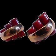 Vintage Modernist MATISSE Renoir Red Enameled Copper Earrings