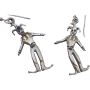 Sterling Silver Articulated Court Jester Joker Earrings