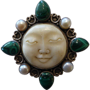 Sterling Silver Carved Bone Moon Face Malachite and Pearl Brooch