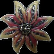 Enamel Sterling Silver Marcasite Flower Pin Brooch
