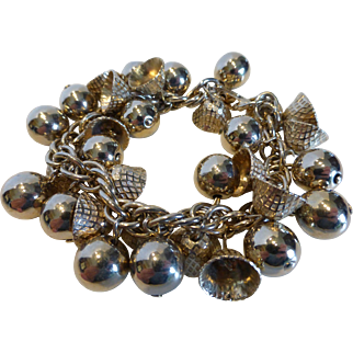 Vintage Gold Tone Charm Bracelet w Bells and Balls