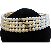 Vintage 1950's Faux Pearl Rhinestone Collar Necklace