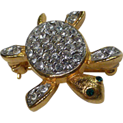 Vintage Joan Rivers Baby Sea Turtle Pin Swarovski Crystals Gold Plate