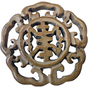 Antique Chinese Carved Brown Jade Medallion Pendant