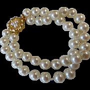 Vintage Faux Pearl Double Strand Bracelet