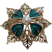 Monet Gold Tone Filigree and Enamel and Faux Pearl Pin Brooch